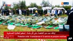 Image taken from Algerian TV network Ennahar shows body bags of victims placed near the scene after a military plane which crashed soon after takeoff from Boufarik military base, near the Algerian capital, April 11, 2018.