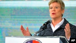 "NATO Deputy Secretary-General Rose Gottemoeller speaks during the International field exercise ""Crna Gora 2016,"" in Plavnica, near the Montenegro capital Podgorica, Nov. 3, 2016."