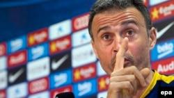 L'entraîneur Luis Enrique du FC Barcelone, lors d' une conférence de presse, EPAepa / Garcia Quique