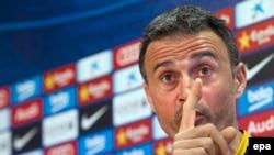 L'entraîneur Luis Enrique du FC Barcelone, club Espagnol, lors d' une conférence de presse au complexe sportif Joan Gamper, près de Barcelone, Espagne, le 16 avril 2016. epa / Garcia Quique