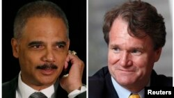 A combination of file photos shows U.S. Attorney General Eric Holder (L) in Washington on May 5, 2014 and Bank of America Chief Executive Brian Moynihan in Hong Kong on March 8, 2013 respectively.