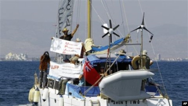 A boat with 9 Jewish activists aboard sets sail from Famagusta harbor in the Turkish-occupied north of ethnically divided Cyprus in a bid to breach the Israeli naval blockade of Gaza on Sunday, Sept. 26, 2010.