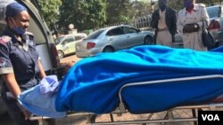Johanna Mamombe In stretcher at a private hospital in Harare.(VOA)