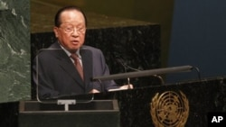 Hor Namhong, Cambodian Deputy Prime Minister and Minister of Foreign Affairs and International Cooperation, addresses the 65th session of the United Nations General Assembly, Tuesday, Sept. 28, 2010, at United Nations headquarters.