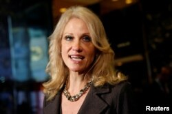 Kellyanne Conway, campaign manager and senior advisor to the Trump Presidential Transition Team, speaks to the media at Trump Tower in New York, Nov. 16, 2016.