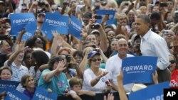 Tổng thống Obama trong một cuộc vận động ở St. Petersburg, Florida, 8/9/2012