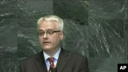 Ivo Josipović tijekom obraćanju na skupu Milenijski razvojni ciljevi u New Yorku