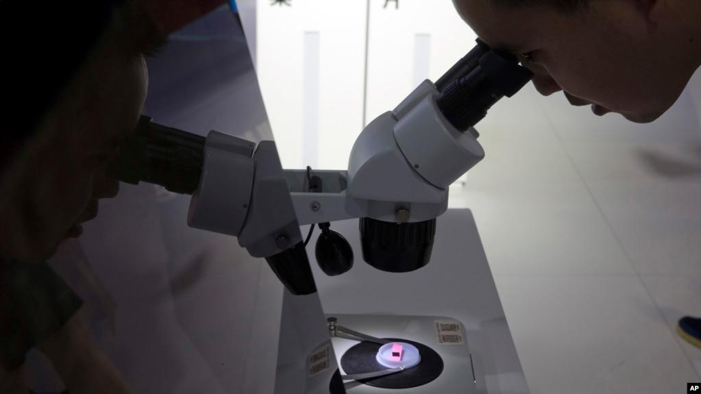 在北京第21届国际科技产业博览会上有人在通过显微镜看电脑晶片 (2018年5月17日)