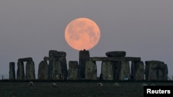 """FILE - Sheep graze as the full moon, known as the """"Super Pink Moon"""", sets behind Stonehenge stone circle near Amesbury, Britain, April 27, 2021."""