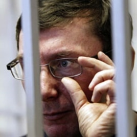 Ukraine's former Interior Minister Yuri Lutsenko looks out from the defendant's cage during a court session in Kiev, February 27, 2012