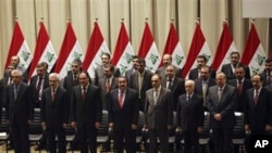 The new Iraqi government is seen during a swearing in ceremony in Baghdad, Iraq, Tuesday, Dec. 21, 2010.