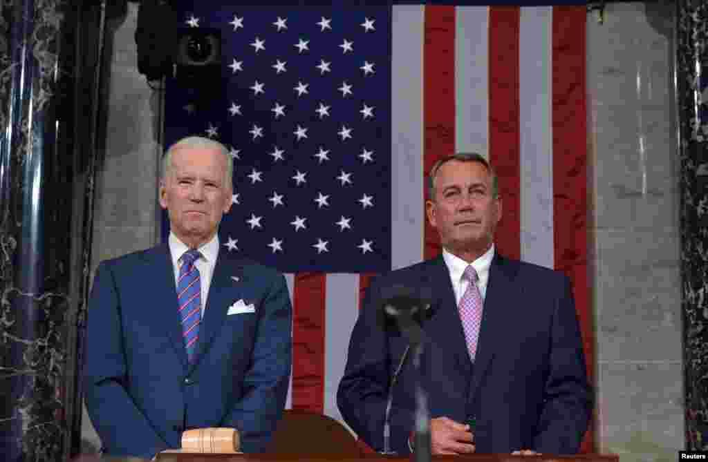 صدر اوباما کے خطاب کو سننے کے لیےنائب صدر جو بائیڈن اور ایوانِ نمائندگان کے اسپیکر جو بوئینر نے بھی شرکت کی۔