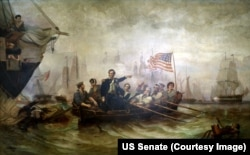 "This 1865 painting ""Perry's Victory on Lake Erie"" artist William Henry Powell shows the moment when Captain Perry made his way from the destroyed battleship Lawrence to the Niagara."