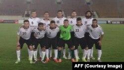 بازیکنان ردۀ نخست تیم ملی فوتبال افغانستان در برابر لاووس