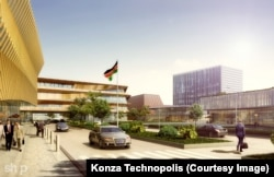 An artist's rendering shows a technology district in Konza, Kenya.