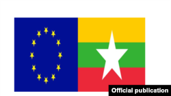 Cờ của Liên minh châu Âu (EU) và Myanmar.