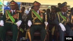 Zimbabwe's top generals attending the country's 38th Independence Day celebrations at the National Sports Stadium in Harare on Wednesday.