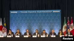 The Trans-Pacific Partnership (TPP) Ministers hold a press conference to discuss progress in the negotiations in Lahaina, Maui, Hawaii, July 31, 2015.