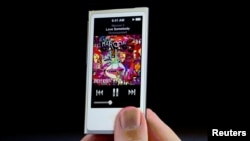 FILE : iPod Nano is introduced during Apple Inc.'s iPhone media event in San Francisco, California, Sept. 12, 2012.