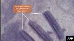 Hình ảnh vệ tinh chiếu cảnh được tin là các ngôi mộ tập thể tại khu vực Kordofan, Nam Sudan