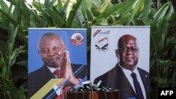 Les bannières des opposants congolais Felix Tshisekedi de l'UDF (R) et Vital Kamerhe de l'UNC, le 23 novembre 2018.