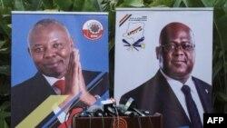 Affiches de campagne pour le chef de l'opposition en RDC, Felix Tshisekedi (UDF), et Vital Kamerhe du parti UNC, le 23 novembre 2018.
