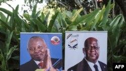 Les bannières du chef de l'opposition en RDC, Felix Tshisekedi du parti UDF, et Vital Kamerhe du parti UNC, le 23 novembre 2018.