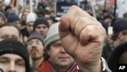 俄罗斯民众举行抗议普京的集会