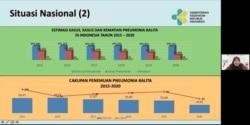 Estimasi kasus, kasus dan kematian Pneumonia Balita di Indonesia Tahun 2015-2020 disampaikan oleh Dokter Siti Nadia Tarmizi, Direktur Pencegahan dan Pengendalian Penyakit Menular Langsung, Kementerian Kesehatan RI, Kamis (15/7/2021) dalam tangkapan layar.
