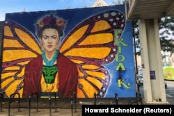 Mural of Mexican artist Frida Kahlo is pictured in the Pilsen neighborhood, initially home to immigrants from eastern Europe and named after the Czech city, in Chicago, Illinois, U.S. September 24, 2019.