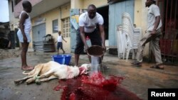 A man washes away blood after killing a ram to mark celebrations for Eid al-Adha in Lagos, Nigeria, October 15, 2013.