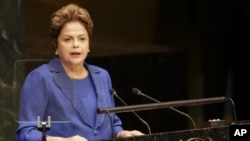 Brazilian President Dilma Roussef speaks during the 69th session of the United Nations General Assembly at U.N. headquarters in New York, Sept. 24, 2014.