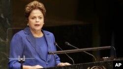 Presiden Brazil Dilma Roussef memberikan pidato pertama Sidang Umum PBB, Rabu (24/9).