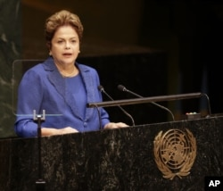 FILE - Dilma Roussef, president of Brazil, speaks during the 69th session of the United Nations General Assembly at U.N. headquarters, Sept. 24, 2014.
