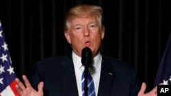 Donald Trump devant l'association des shérifs et chefs de police des grandes villes américaines, Washington, le 8 février 2017.