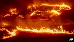 Flames from a backfire burn around a firetruck battling the Delta Fire in the Shasta-Trinity National Forest, Calif., Sept. 6, 2018.
