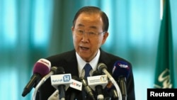 FILE - U.N. Secretary-General Ban Ki-moon, pictured at a Riyadh news conference in February 2015, has called for an immediate cease-fire in Yemen, saying fuel shortages there have placed humanitarian operations in jeopardy.