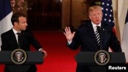 Emmanuel Macron e Donald Trump na Casa Branca