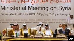 Ngoại trưởng Mỹ John Kerry phát biểu trong cuộc họp của nhóm 'Những người Bạn của Syria' tại Doha, Qatar, 22/6/2013