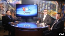 VOA Khmer Service interviews Cambodian opposition leader Sam Rainsy (center) and Kem Sokha (right).