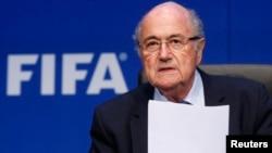 Chủ tịch FIFA Sepp Blatter tại 1 cuộc họp báo ở Zurich, Thụy Sĩ, 30/5/2015.