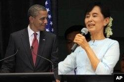 Le président Obama et Aung San Suu-Kyi, leader politique de la Birmanie