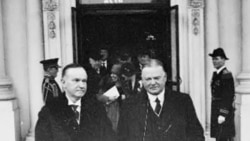 Herbert Hoover, right, and the president he followed in office, Calvin Coolidge