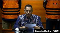 Wakil Ketua KPK Nurul Ghufron saat menggelar konferensi pers di Jakarta, Jumat, 9 April 2021, dalam tangkapan layar. (Foto: VOA/Sasmito)