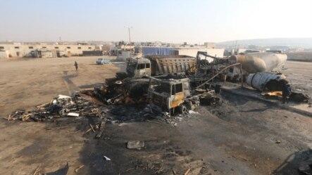 叙利亚人权活动人士所说的俄罗斯空袭后的景象(2015年11月28日)