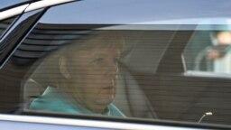 German Chancellor Angela Merkel arrives at the Christian Democratic Union (CDU) headquarters in Berlin on Sept. 26, 2021.