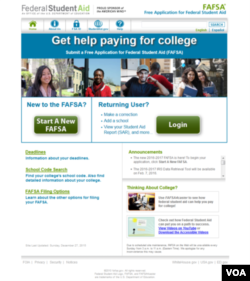 Homepage of the fafsa.gov website