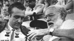 Ernest Hemingway offers a word of advice to Banderillero bullfighter Juan De La Palma
