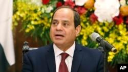 Le président égyptien Abdel-Fattah el-Sissi lors d'une conférence de presse à Hanoi, Vietnam. 6 septembre 2017.