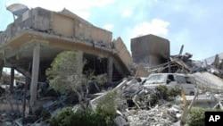 叙利亚官方的阿拉伯叙利亚通讯社公布的这张照片显示了在美英法导弹袭击中被摧毁的叙利亚科研中心。(资料照)
